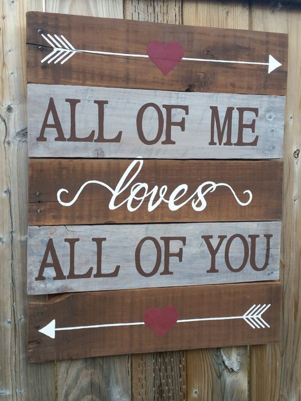 Unique Rustic Wood Sign For Valentine Day Decor