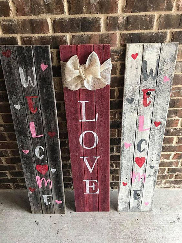 Valentine Wooden Sign For Porch Decor