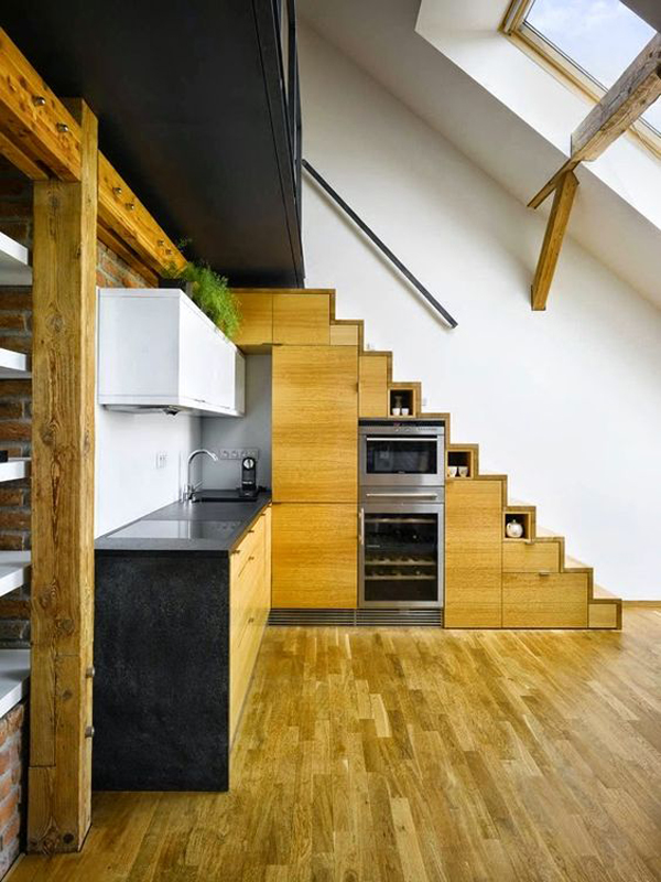 Wooden Kitchen Cabinet In Under The Stairs Home Design And