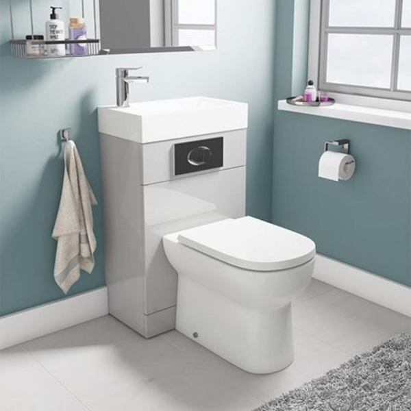All In One Gloss Grey Toilet And Sink Units Homemydesign