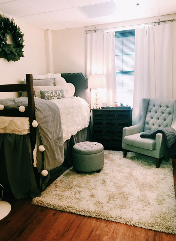 White Dorm Room With Plants