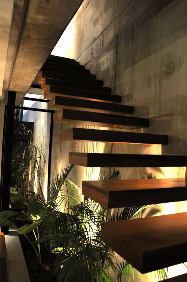 Indoor Plant Under Stairs With Lighting Decor Home Design And Interior