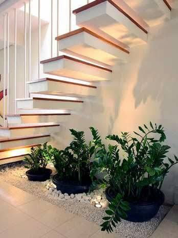 Mini Plant Decor Under The Stairs Home Design And Interior