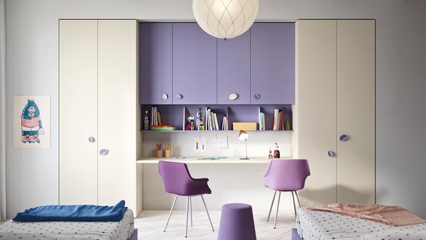 Purple Kids Desk For Two