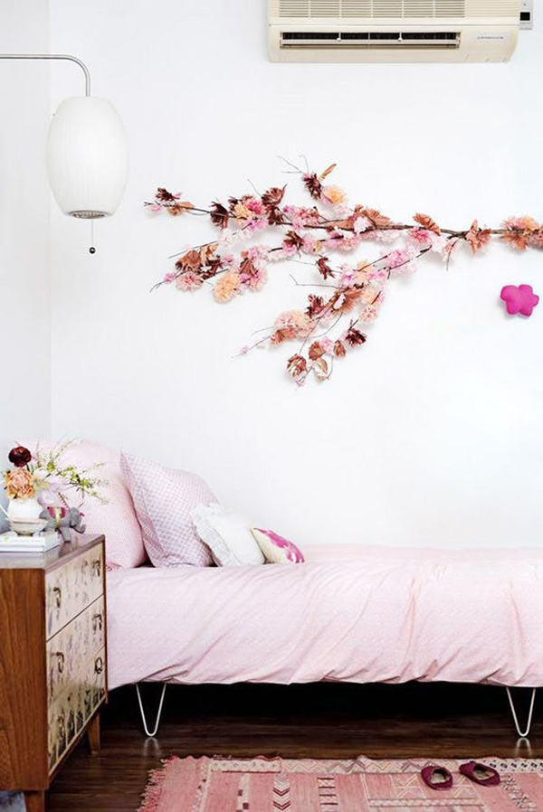 Diy Flower Wall Decor In The Bedroom