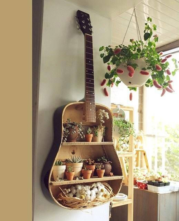 Diy Old Guitar Wall Rack For Planters