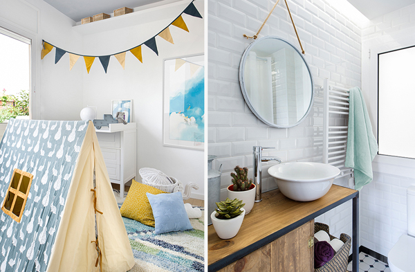 Grey Kids Room With Scandinavian Bathroom