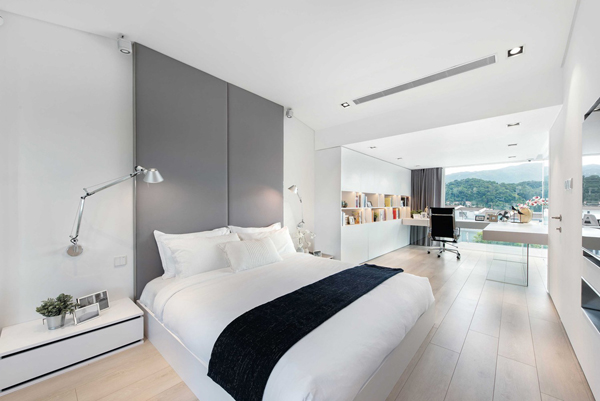 Modernmasterbedroomwithlargehomeoffice Enchanting Bedroom Home Office Minimalist Property