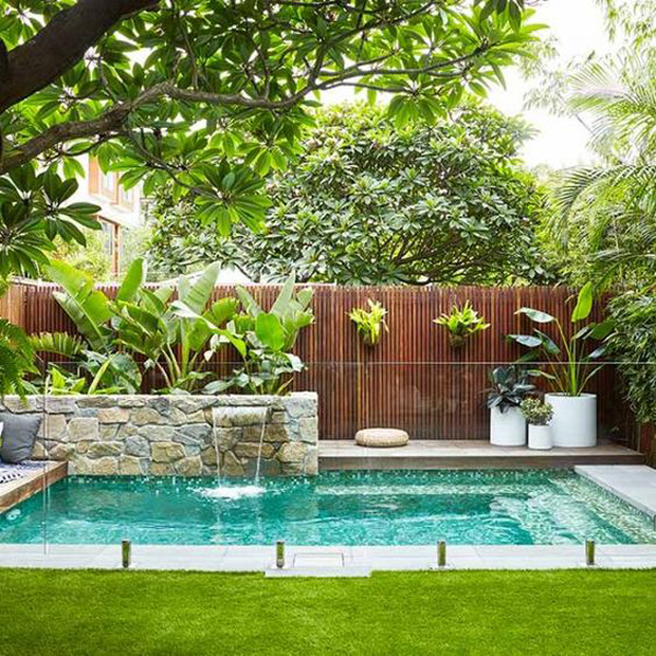 backyard-pool-with-tropical-garden-ideas - HomeMydesign on Tropical Backyard  id=82593