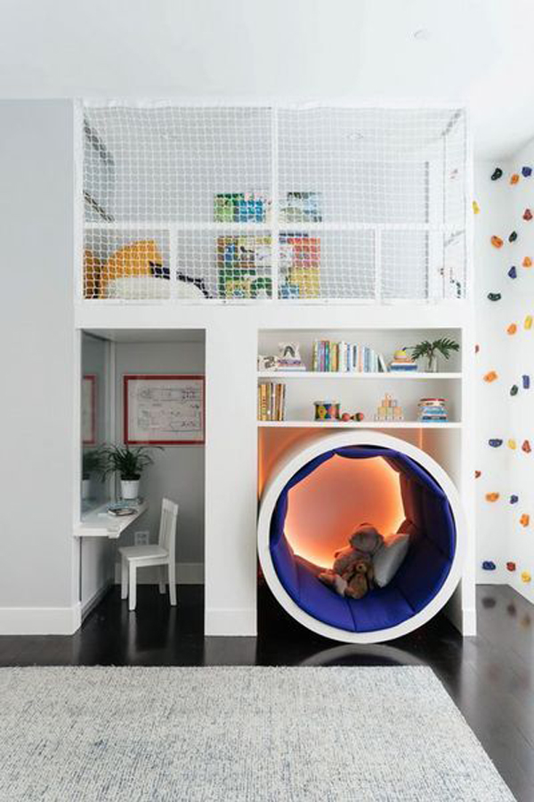 Best kids playroom with indoor playhouse and round reading - Best living room furniture for kids ...