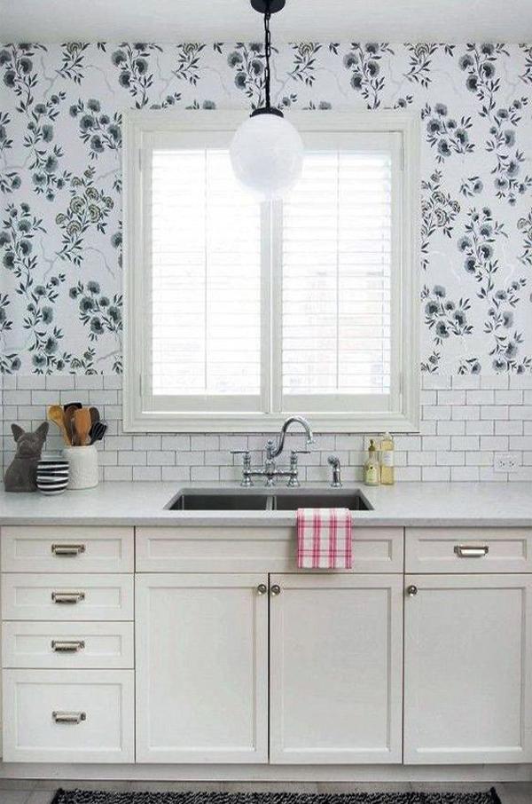 minimlist white kitchen wallpaper with nature elements ...