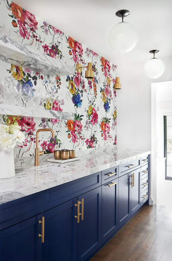 Tile Backsplash May Be Too Often We See But The Wallpaper Backsplash Is A  Unique Way Of Decorating Your Kitchen.