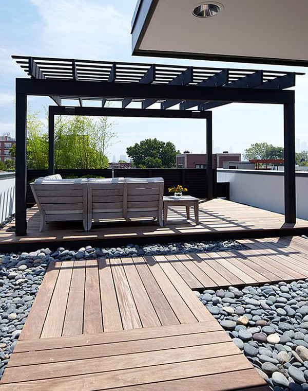 Modern Rooftop Deck With Wooden Pergola Homemydesign