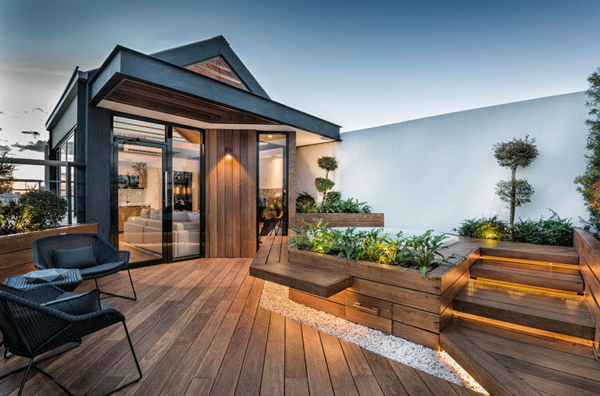 modern wood rooftop deck with hidden lighting