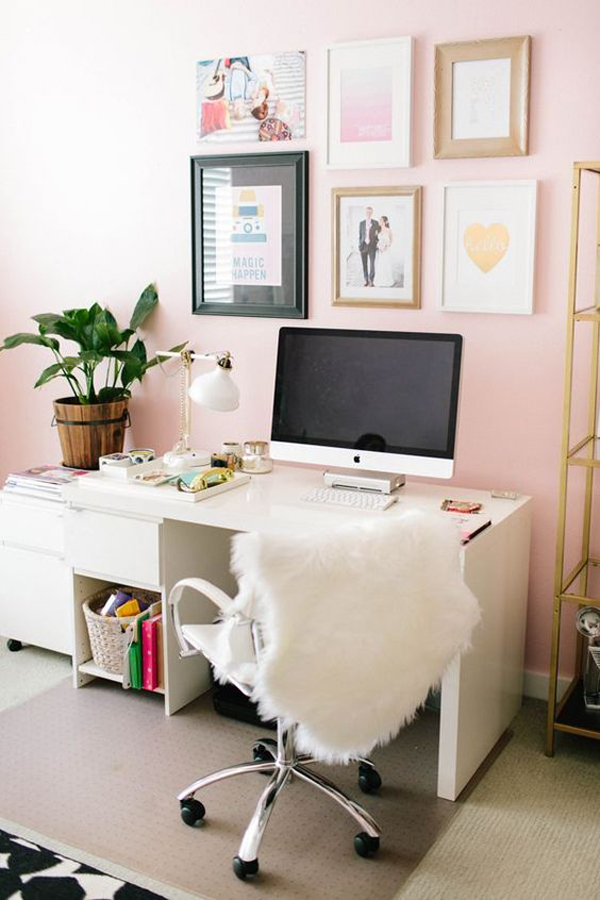Pink Home Office With Gallery Wall Art