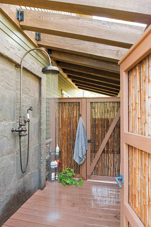 Private Outdoor Shower With Wood And Bamboo Accents