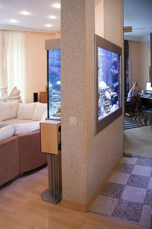 22 spectacular room dividers with modern aquarium home - Acuario en casa ...