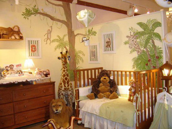 brown kids jungle room ideas with wood accents