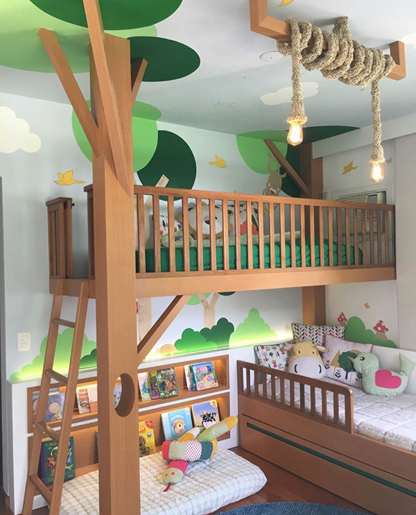 Work With Greenery On Textiles And Use Imaginative Decorations That They Can Create Themselves Here Are Some Kids Room Ideas Forest Theme For