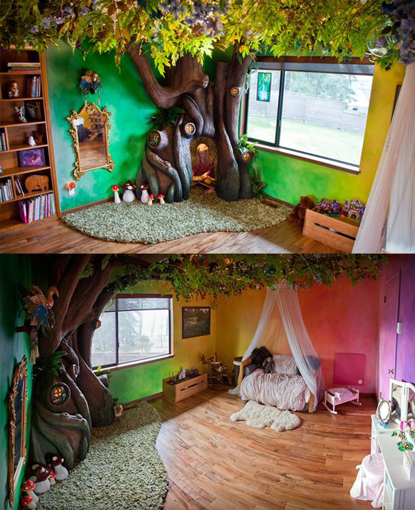 Dreamy Kids Jungle Room With Indoor Large Trees