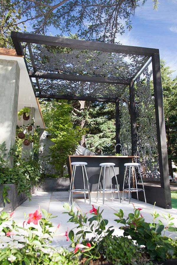 - Grey-metal-pergola-design-with-outdoor-dining-area