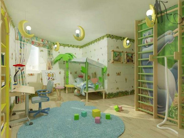 Modern Green Kids Jungle Bedroom Decor