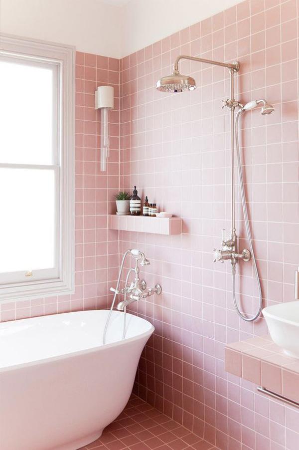pretty ways  bring  pink colors   bathroom