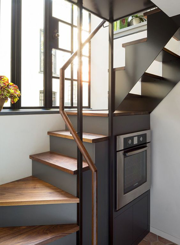 grey saving space stairs for kitchen room - 32+ Small Space Staircase Design For Small House Pictures