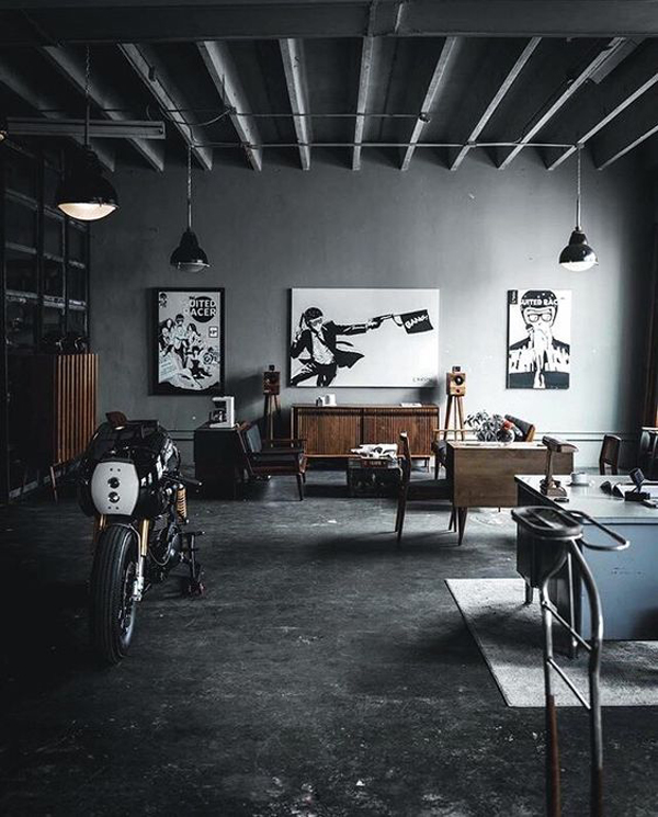 man-cave-living-space-with-motorcycles | Home Design And ...