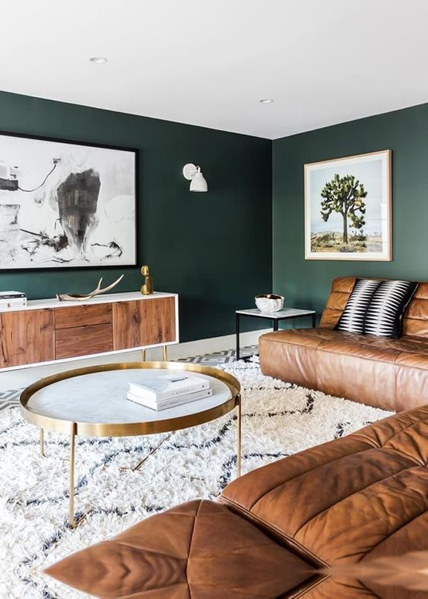 Masculine Man Living Room With Leather Furniture Homemydesign
