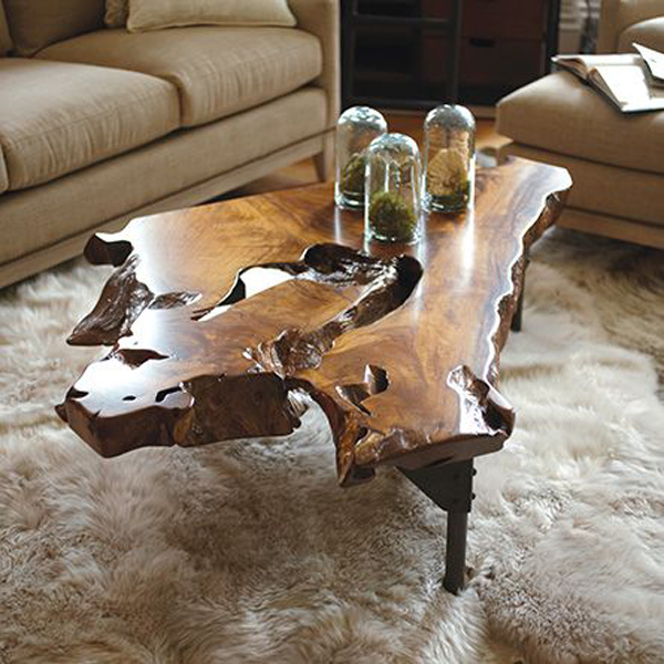Rustic One Of A Kind Natural Teak Wood Slab Coffee Table: 20 Amazing Wood Roots Furniture For Your Decor