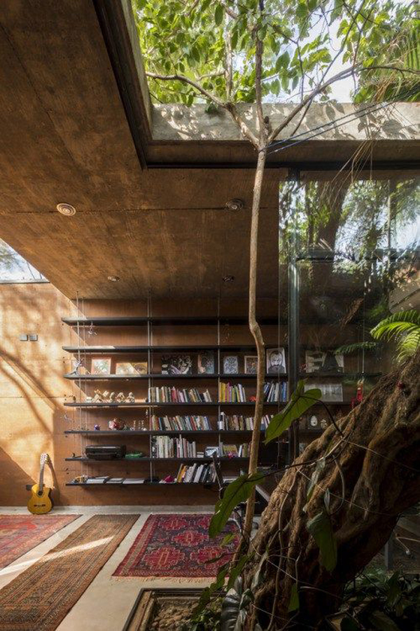 Bohemian Home Library Ideas With Nature Surroundings