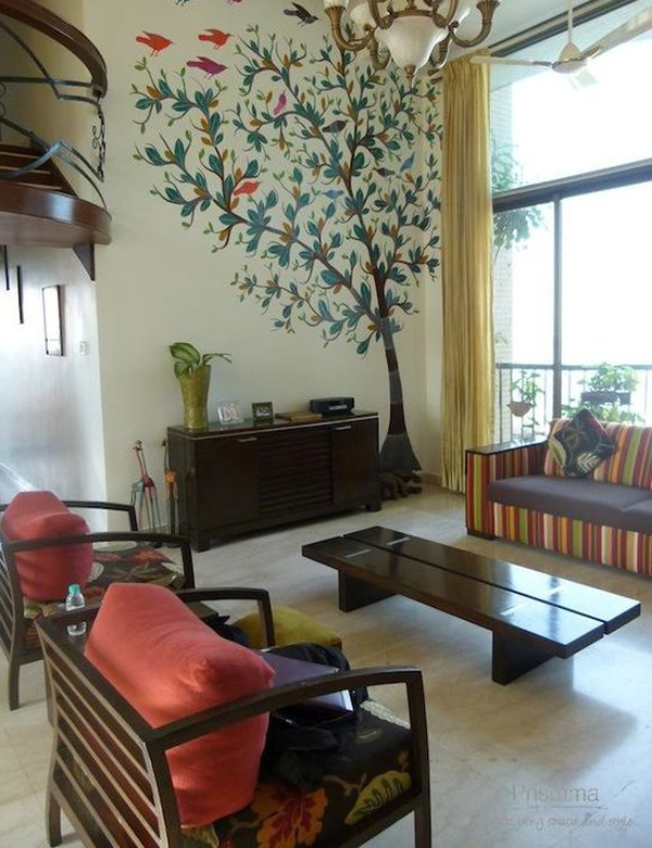 Indian Living Room With Trees Wallpaper Home Design And Interior