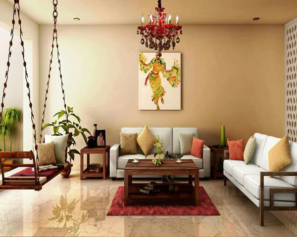 Modern indian living apace with swing chairs for Indian living room furniture