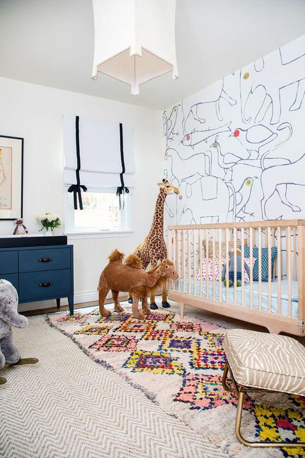 Beautiful Wool Nursery Rug With Animal Room Decor