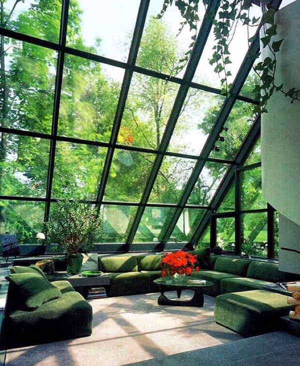 Natural Green Living Room With Large Windows Home Design