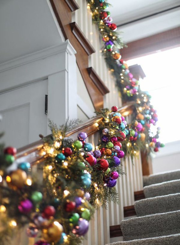 Rainbow Christmas Garland For The Stairs Home Design And Interior