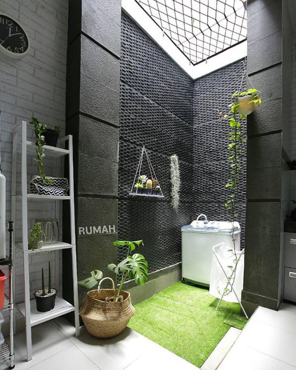 Indoor Outdoor Laundry Area With Nature Touches Home