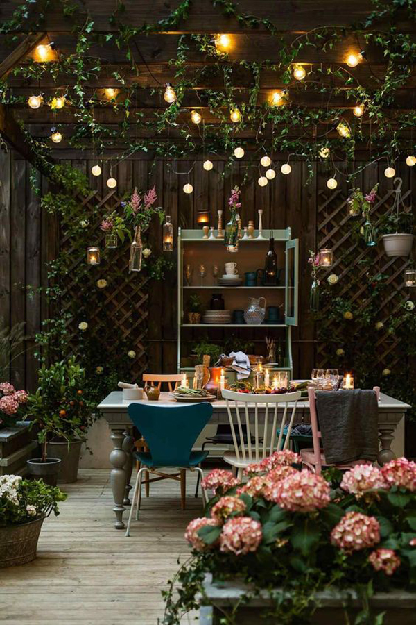 Outdoor Dining Room With Bohemian Decor