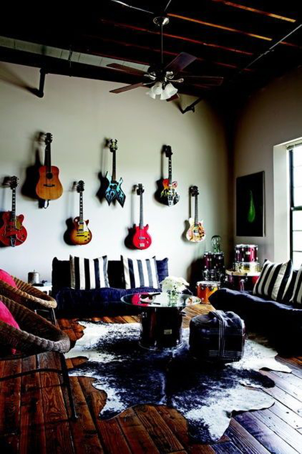 Rock N Roll Living Room With Guitar Wall Art Home Design