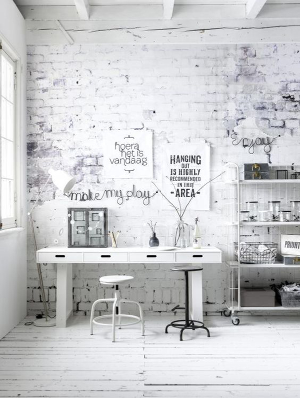 20 Cozy Home Interior Design Ideas: 20 Trendy And Cozy Home Office With Brick Walls