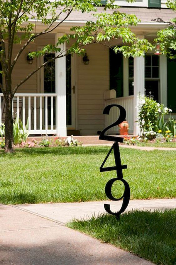 Unique House Number Sign In Frontyard Homemydesign