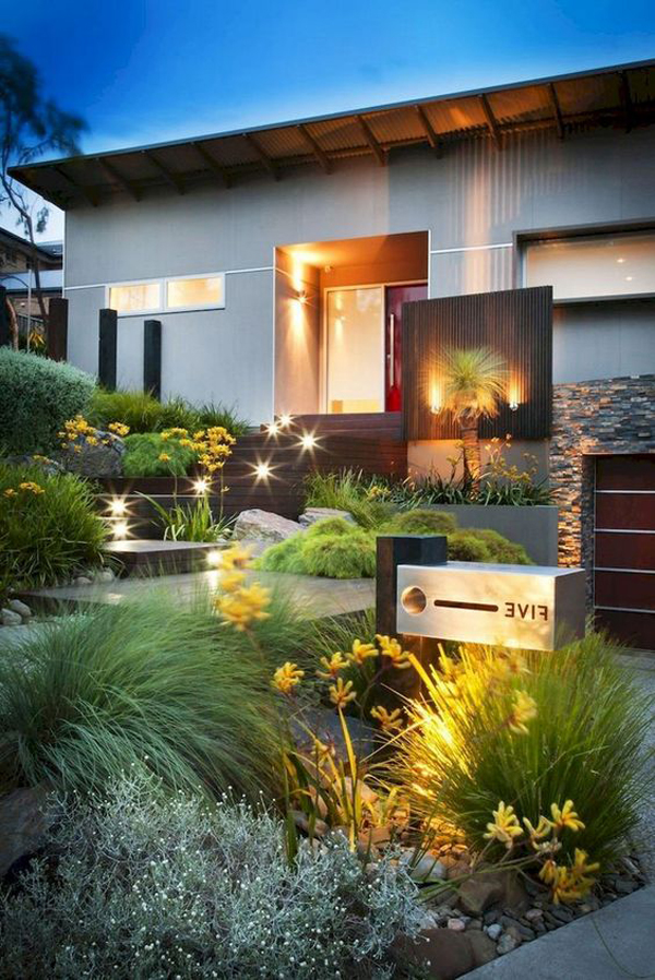 modern-urban-front-yard-garden-with-lighting-ideas ...