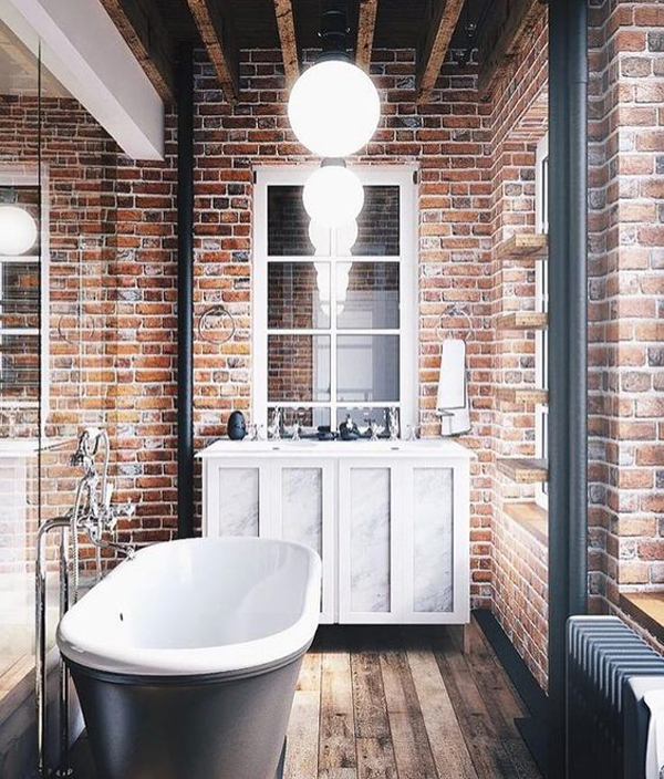 Bathroom With Exposed Brick Tiles