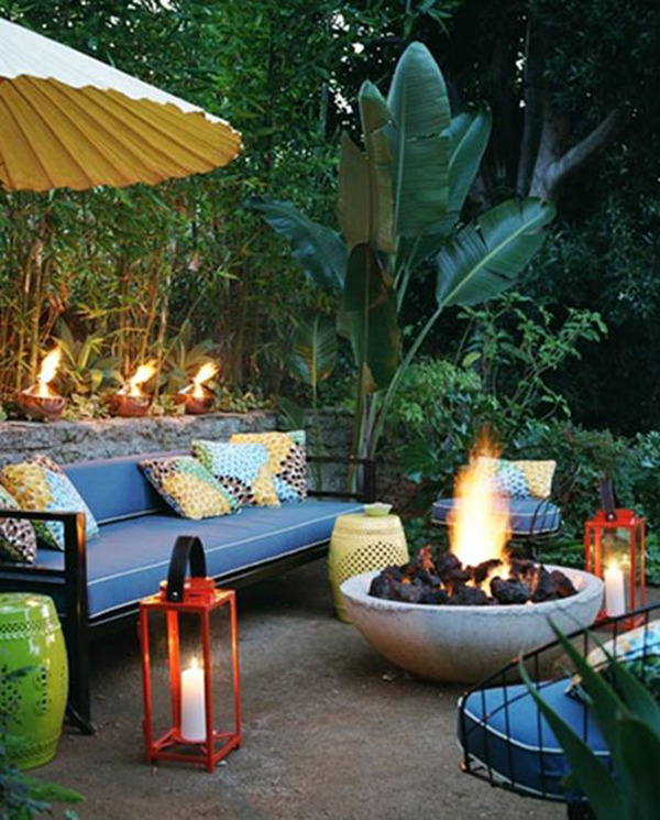 tropical-outdoor-living-space-with-fire-pit-ideas ... on Tropical Outdoor Living id=48522
