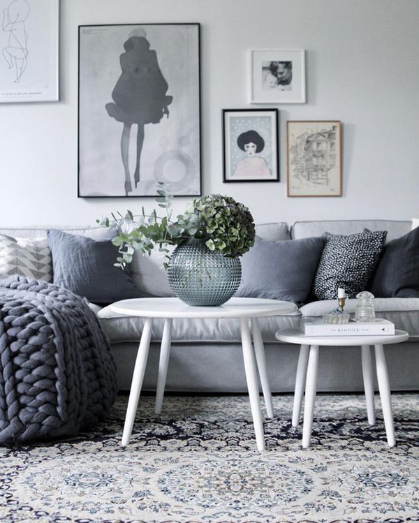 Awesome Two Round Coffee Table For Gray Living Room Home
