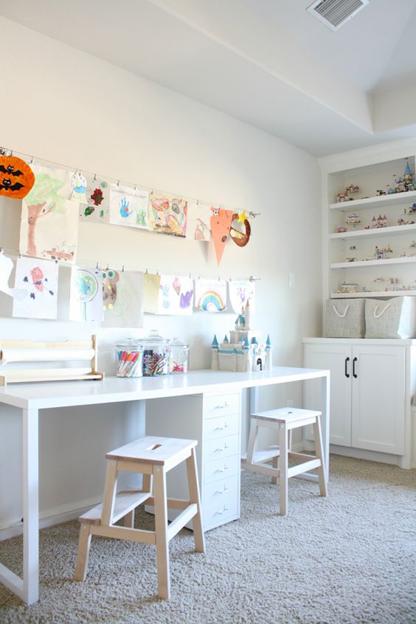 Kids Study Room Design: Clean-and-minimalist-kids-study-room-for-two