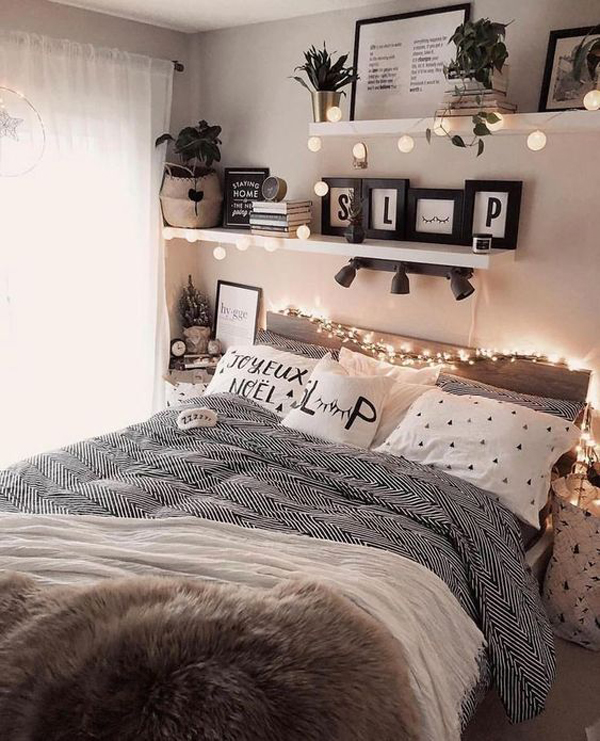 cute-and-girly-teen-girl-bedroom-with-wall-shelves | Home ...