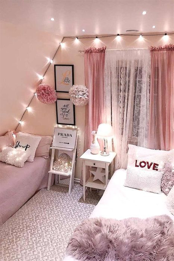 girly-pink-bedroom-decor-ideas - HomeMydesign