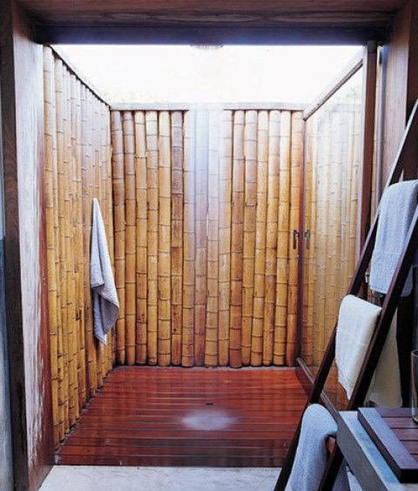 Indoor Outdoor Showers With Bamboo Wall